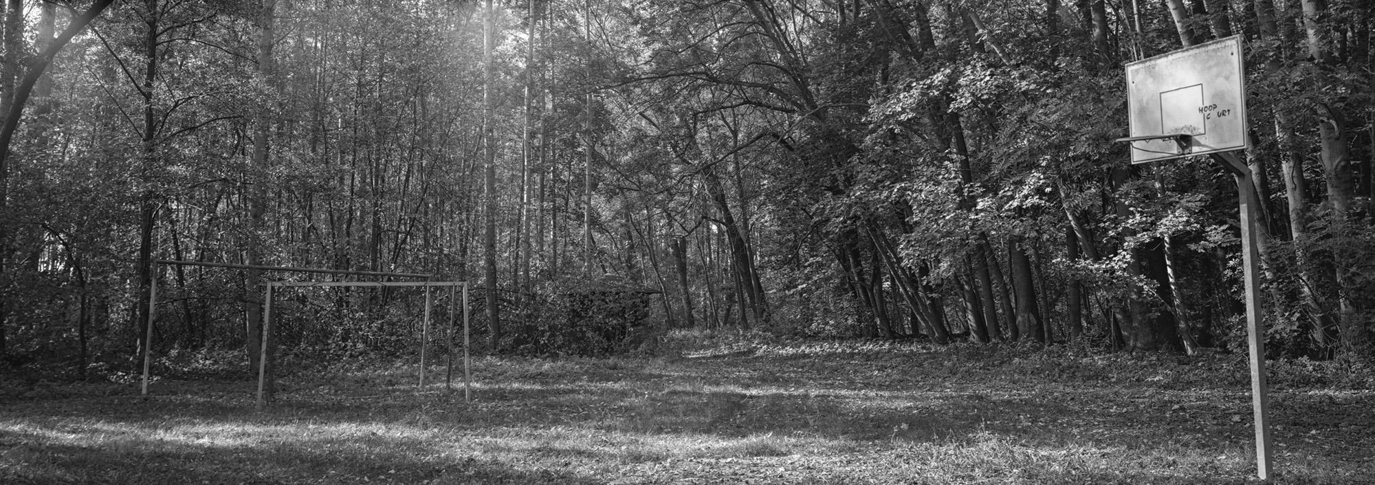 6x17 Panorama Spielplatz im Wald Kleinmoelsen Grossformatkamera analog