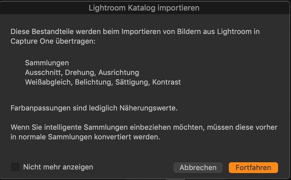 Capture One-Dialog für das Importieren von Lightroom-Katalogen